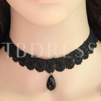 Lace Hollow Out Velet Rope Torques Choker Necklace