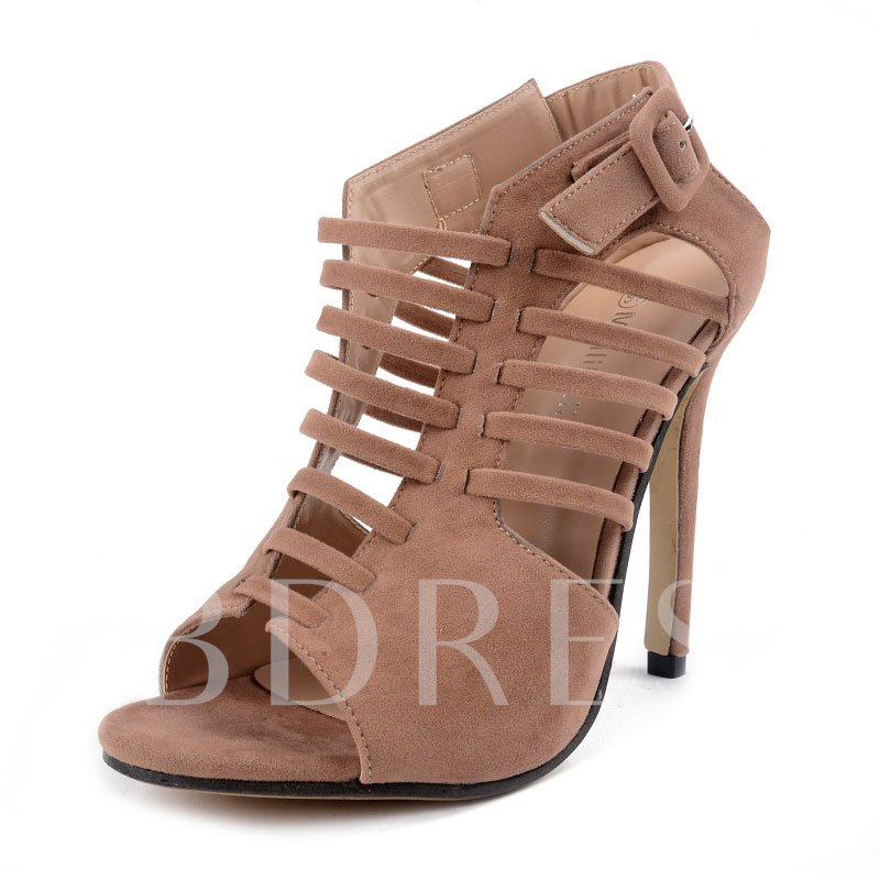 Suede Lace Up Solid Buckle High Heel Sandals for Women