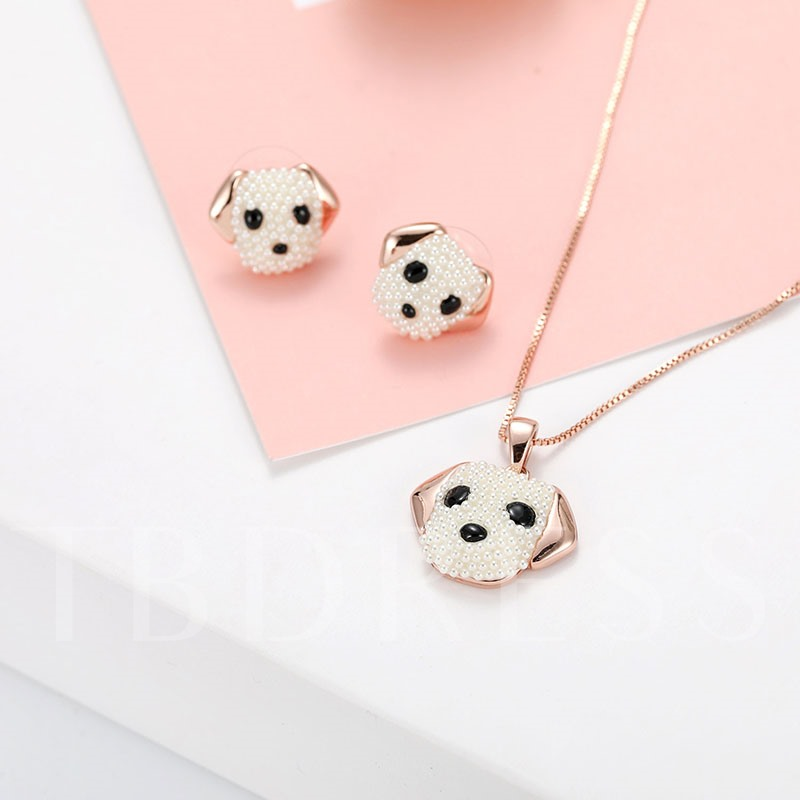 Artificial Pearl Inlaid Dog Jewelry Sets