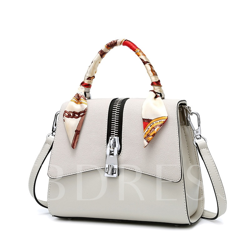 Trendy Color Block Zipper Decoration Women Satchel