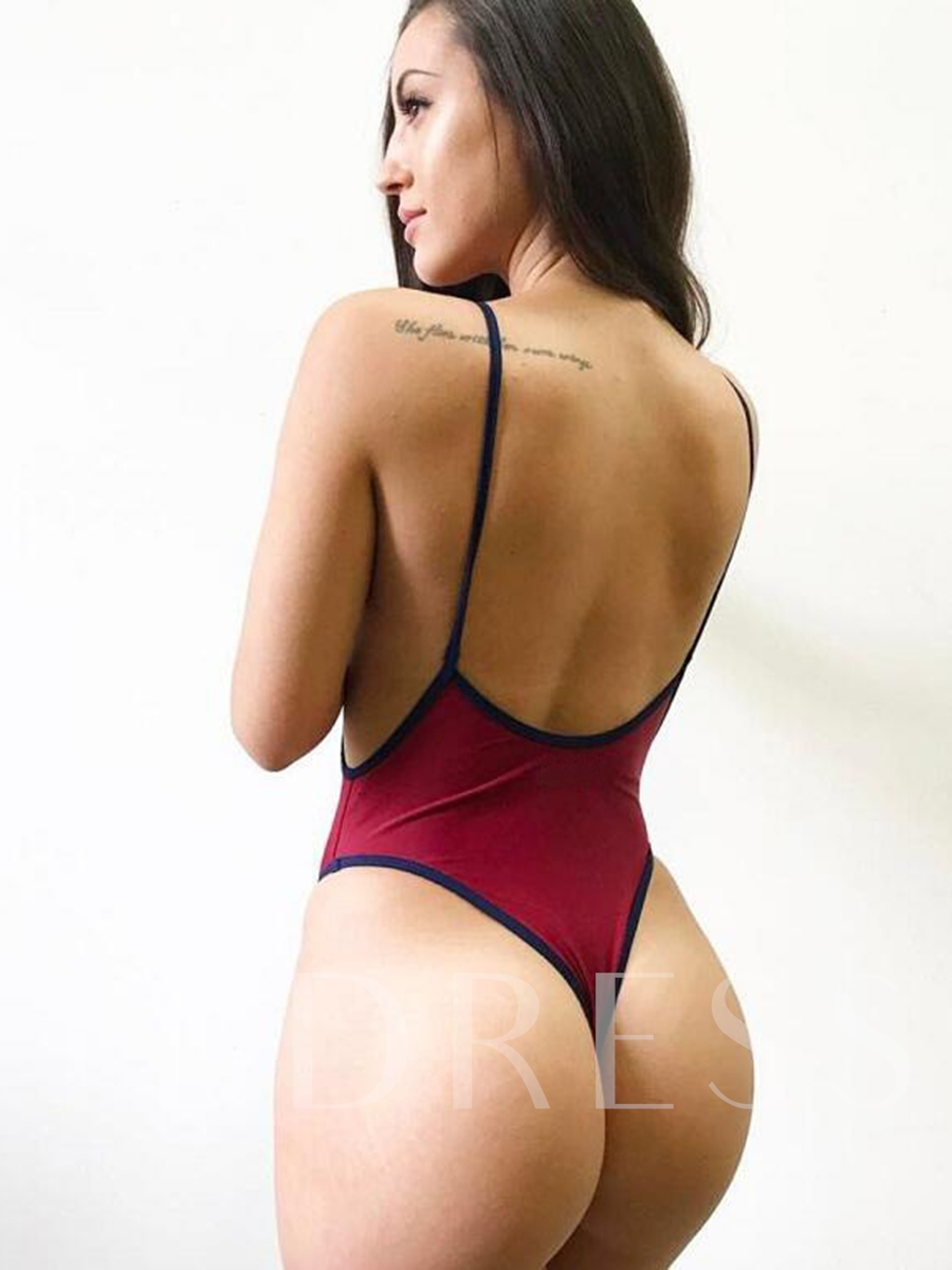 Color Block V-Neck Backless One-Piece Swimsuit