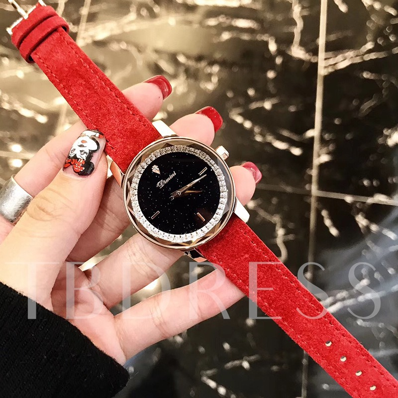 Starry Sky Artificial Leather Strap Round Stainless Steel Watches