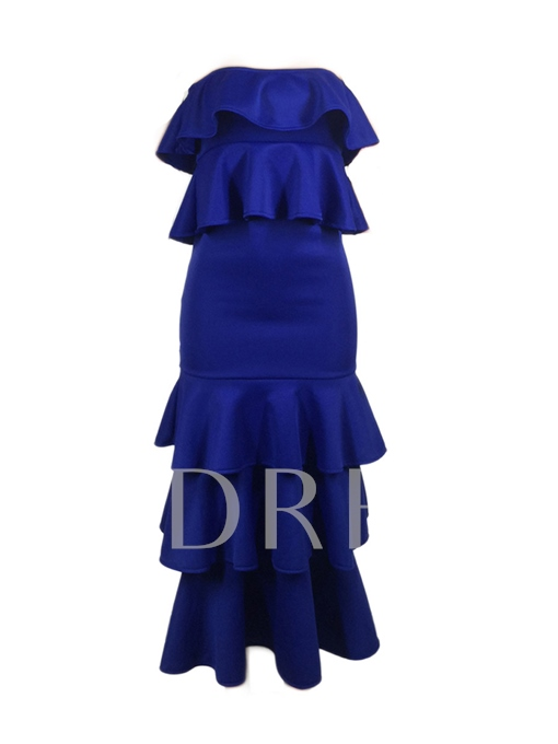 Solid Color Strapless Tiered Women's Bodycon Dress