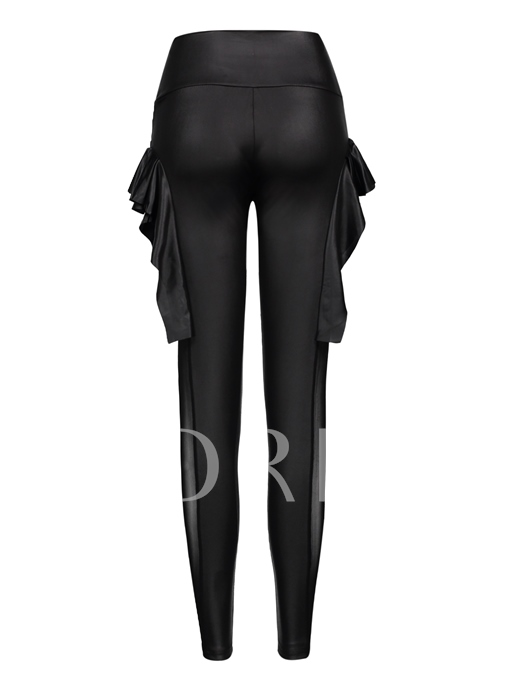 High-Waist Mesh Falbala Patchwork Women's Leggings