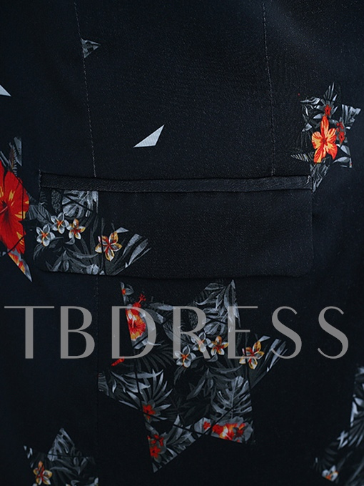 Notched Collar Floral Print Slim Plain Men's Dress Suit