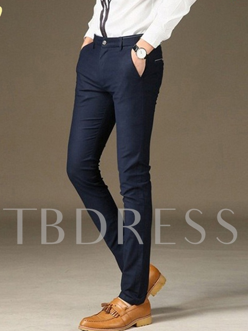 Wash and Wear Solid Color Straight Men's Casual Pants