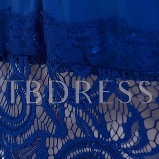 Plus Size Blue Lace Patchwork Women's Day Dress