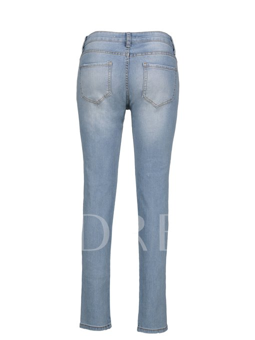 Skinny Floral Embroideried Ankle Length Women's Jeans