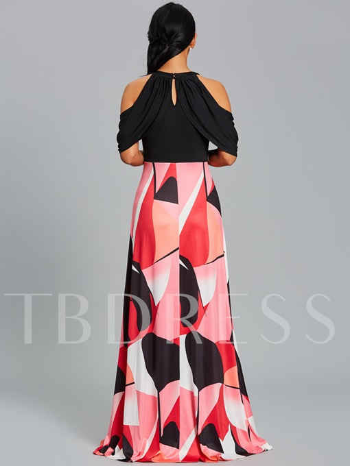 Cold Shoulder Color Block Women's Maxi Dress
