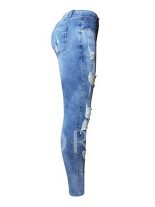 Low-Waist Hole Denim Button Women's Jeans