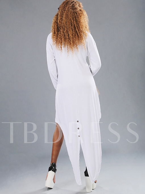 Plain Long Sleeve Asym Women's Maxi Dress