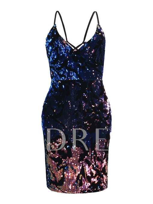 Spaghetti Straps Sequins Women's Bodycon Dress