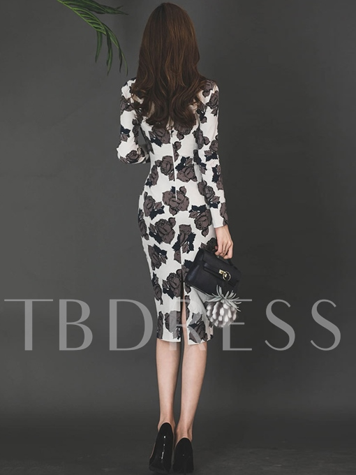 White Flowers Pattern Women's Bodycon Dress