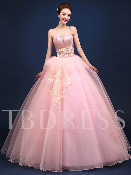 Sweetheart Appliques Flowers Pleats Sequins Quinceanera Dress