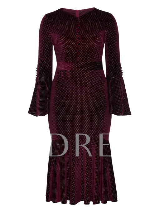 Burgundy Fishtail Bell Sleeve Women's Bodycon Dress
