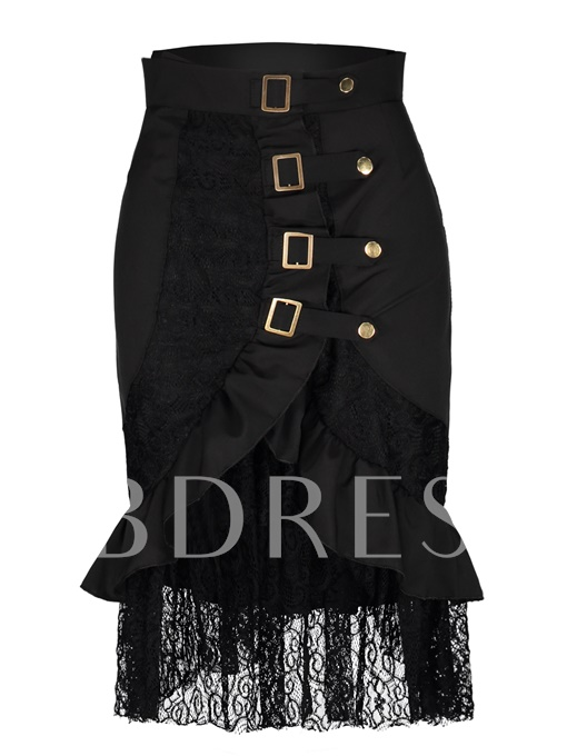 Lace Falbala Patchwork Mid-Calf Women's Skirt