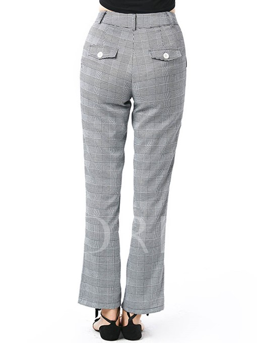 Straight Plaid Pocket Women's Casual Pants