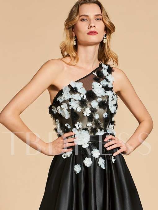 A-Line One-Shoulder Flowers Beaded Evening Dress
