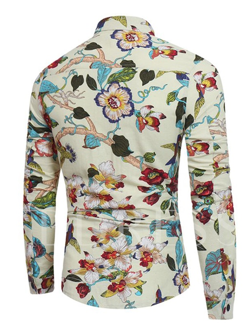 Lapel Ethnic Floral Print Slim Men's Shirt