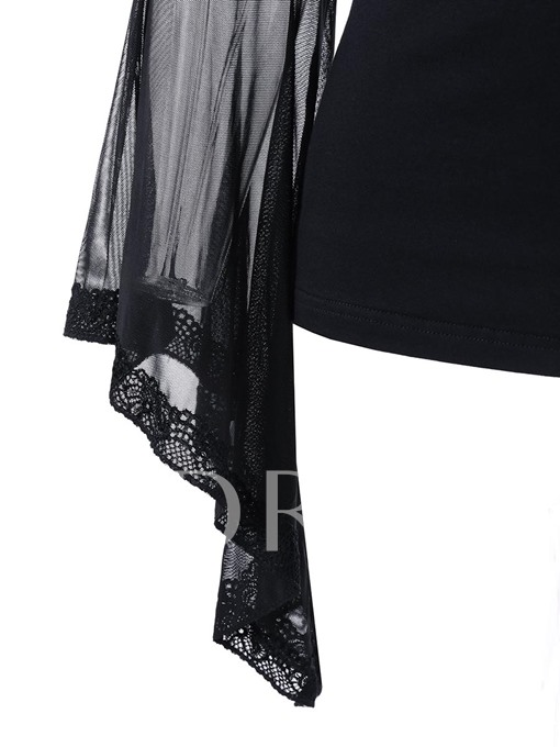 Flare Sleeve See-Through Patchwork Women's T-Shirt