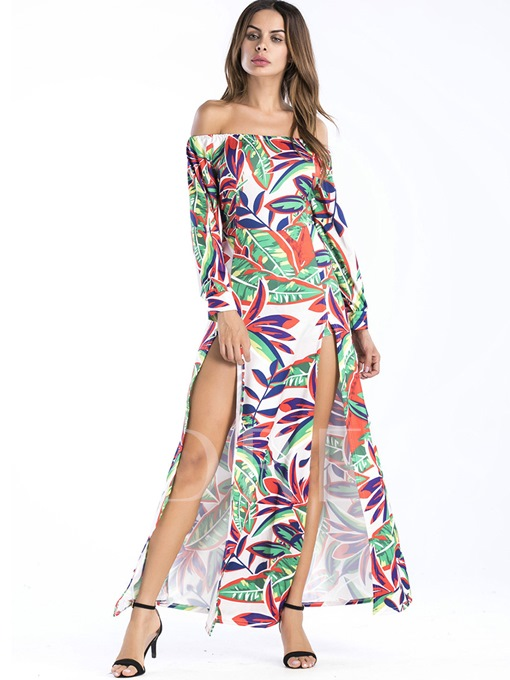 Off Shoulder Printing Women's Maxi Dress