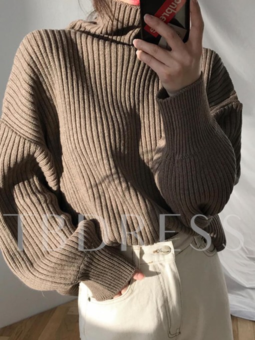 Turtleneck Patchwork Pullover Loose Women's Sweater