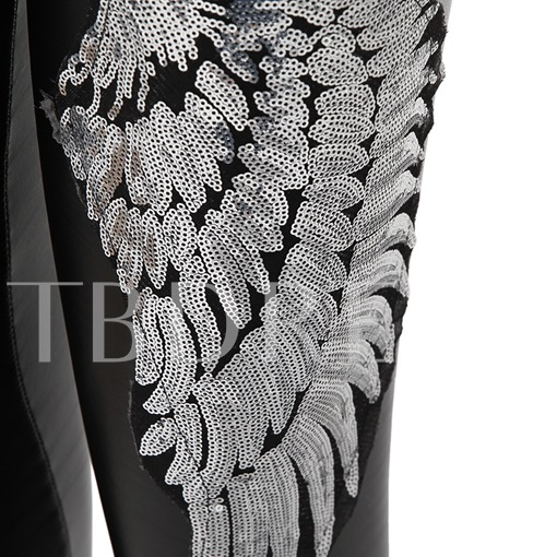 Slim Winter Sequin Wings Thicker Women's Leggings