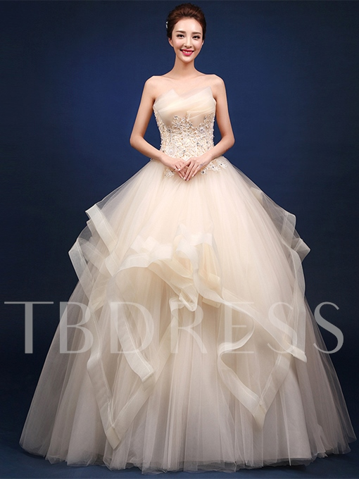 Scalloped-Edge Appliques Beading Floor-Length Quinceanera Dress
