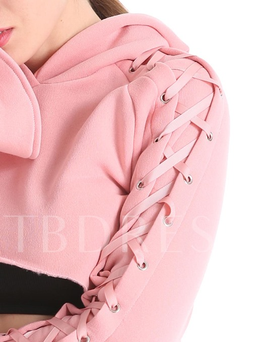 Short Flare Sleeve Lace-Up Women's Hoodie