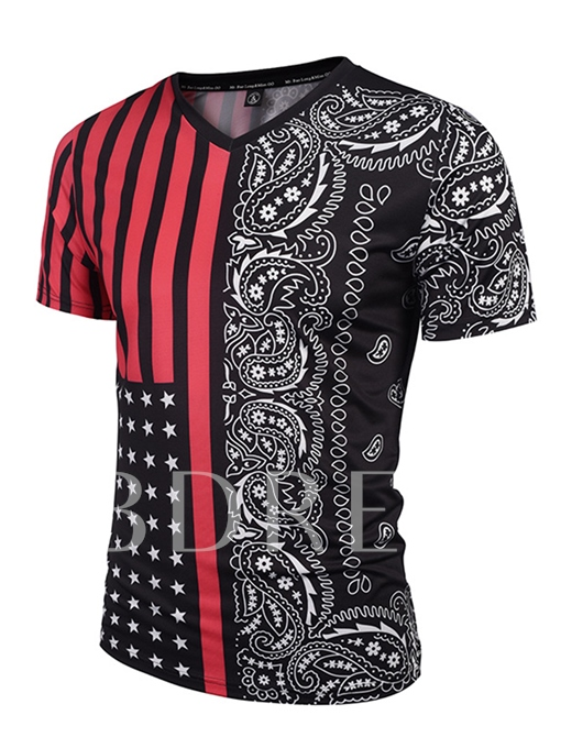 V-Neck Ethnic Print Slim Fit Men's Short Sleeve T-Shirt