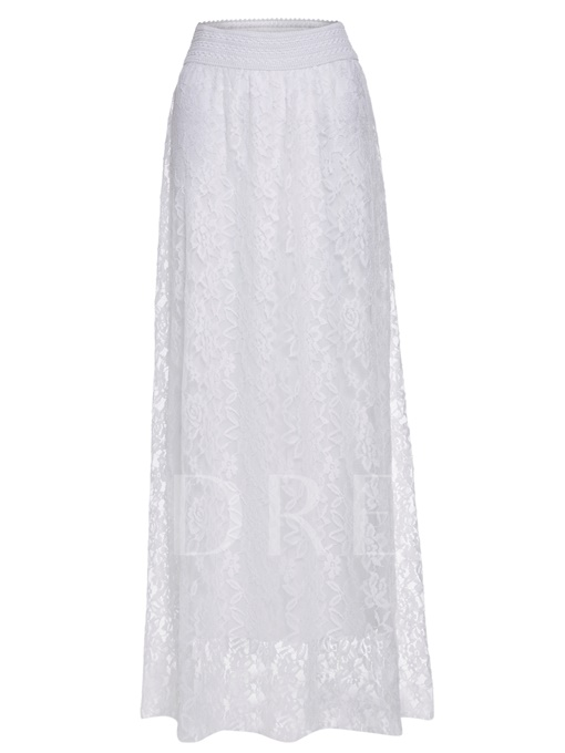 High-Waist Plain Lace Floor-Length Women's Skirt