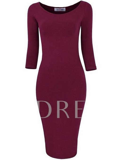 Plain 3/4 Sleeve Pullover Women's Sheath Dress
