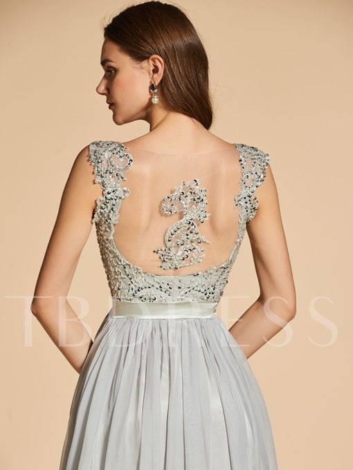 Appliques A-Line V-Neck Lace Sequins Evening Dress