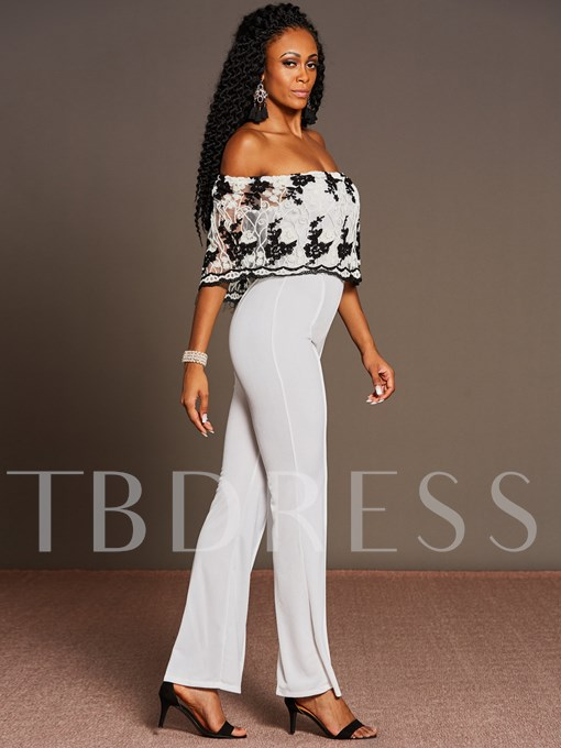 Embroidery Lace Backless High-Waist Women's Jumpsuit