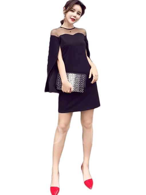 Patchwork See-Through Women's Day Dress