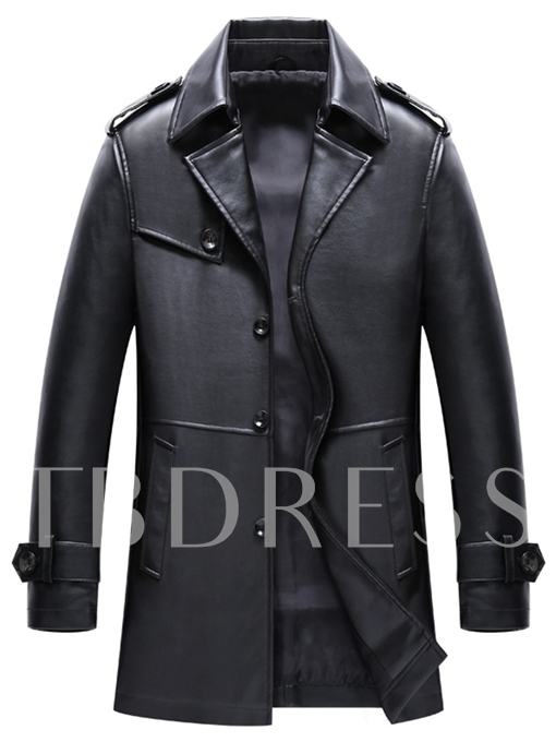 Notched Collar Midi Pattern Loose Faux Leather Men's Trench Coat