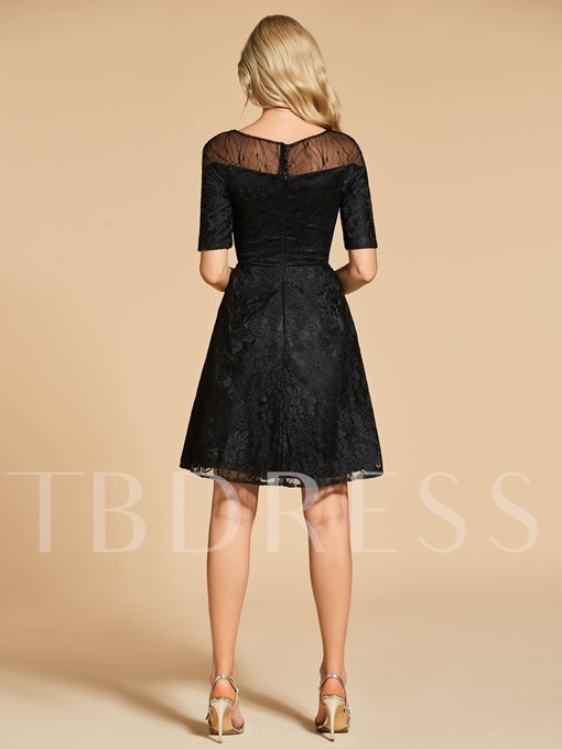 Lace A-Line Bateau Half Sleeves Cocktail Dress