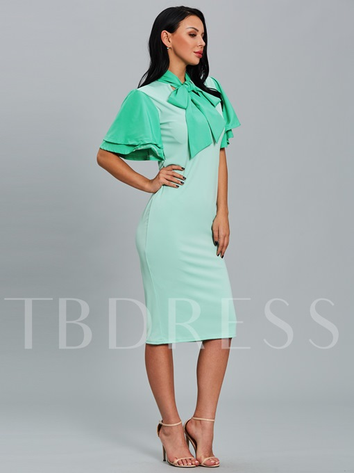 Turquoise Tie Neck Women's Pencil Dress