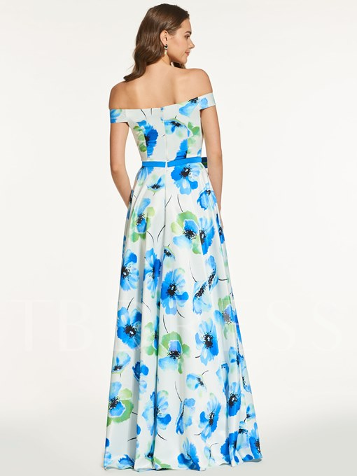 Printed Off-the-Shoulder A-Line Long Evening Dress