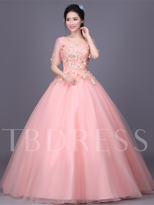 Beading Embroidery Lace Half Sleeves Quinceanera Dress