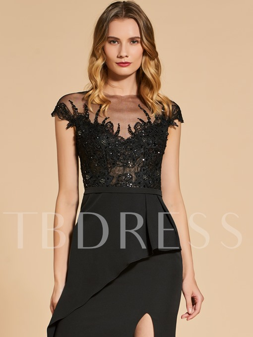 Beading Lace Split-Front Scoop Evening Dress
