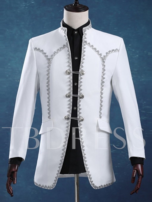 Stand Collar White Slim Fit Men's Dress Suit