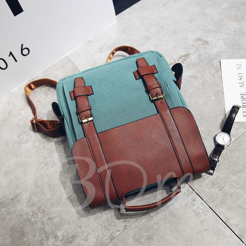 s Preppy Chic Color Block Women Backpack