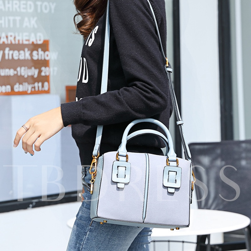 Casual Belt-Decorated Solid Color Boston Bag