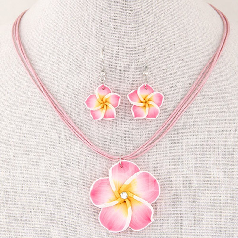 Sweet Flower Shaped Wax Rope Jewelry Sets