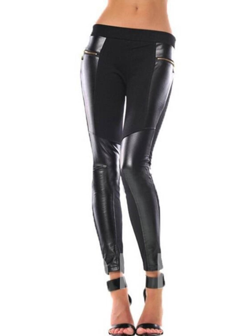 Patchwork Zipper Pocket Women's Leggings