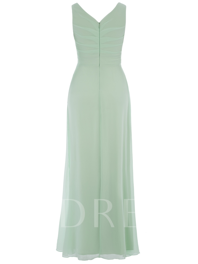 V-Neck A-Line Pleated Chiffon Flower Long Evening Dress