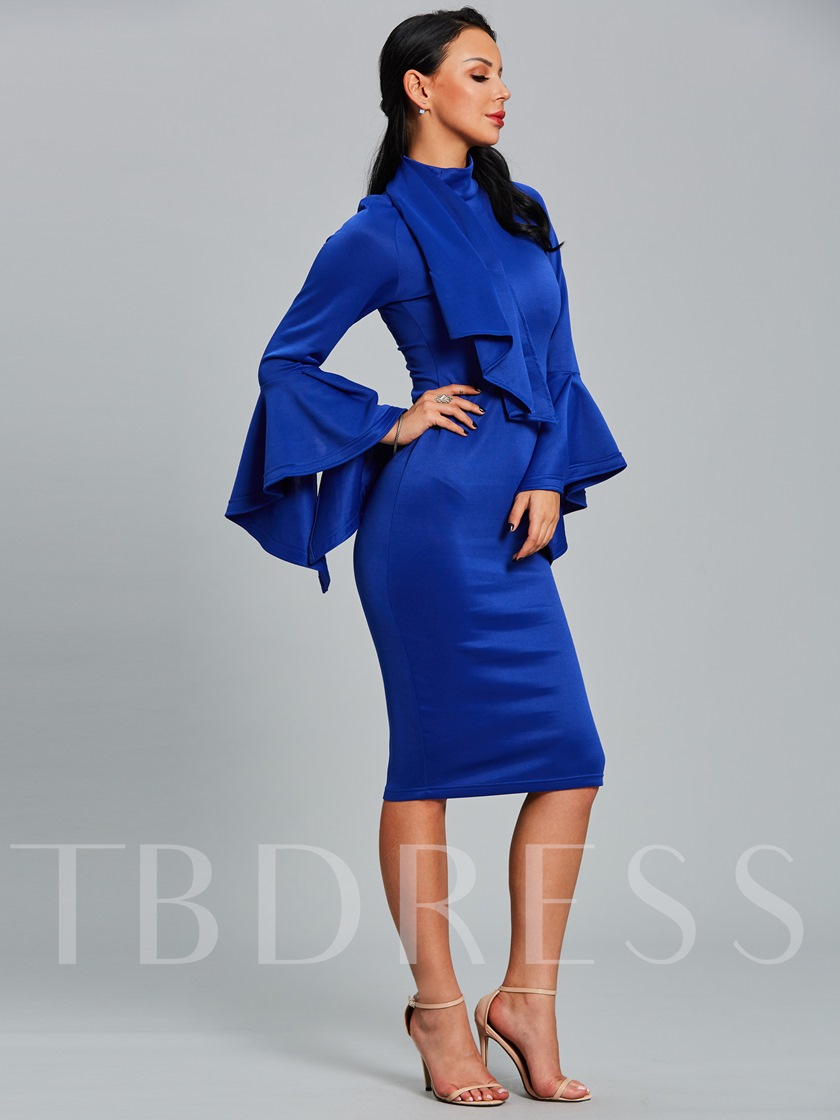 Blue Turtle Neck Women's Pencil Dress
