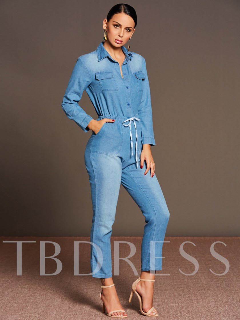Plain Lapel Lace-Up Full Length Skinny Denim Women's Jumpsuit