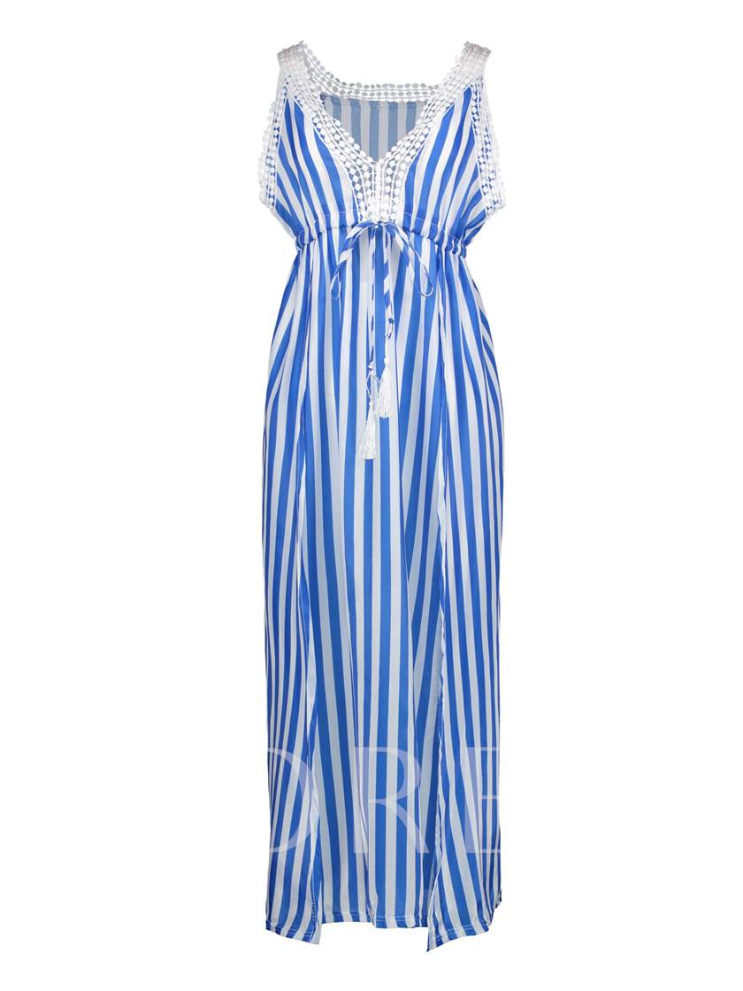 V-Neck Color Block Stripe Vacation Women's Maxi Dress